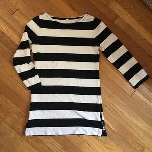J.crew black and white striped top